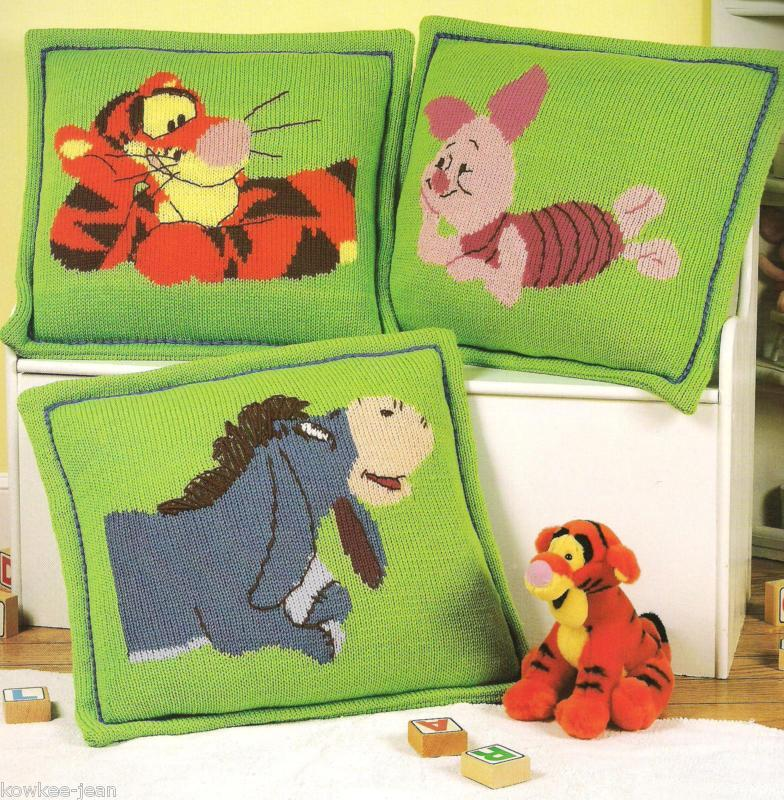 Disney pooh pillow afghan sets knitting pattern booklet Cuddle & Snooze S...