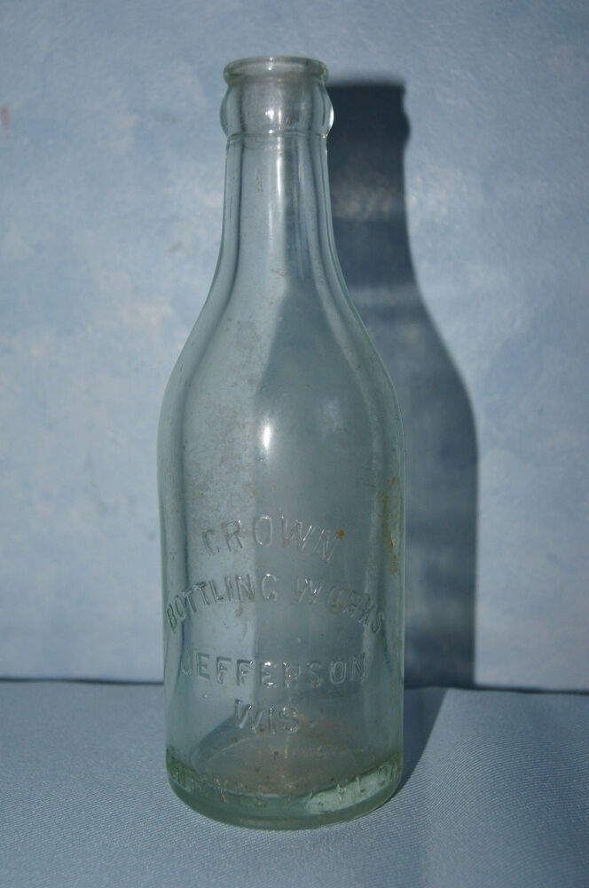 Crown Bottling Works Jefferson Wis Blob Top Clear Glass