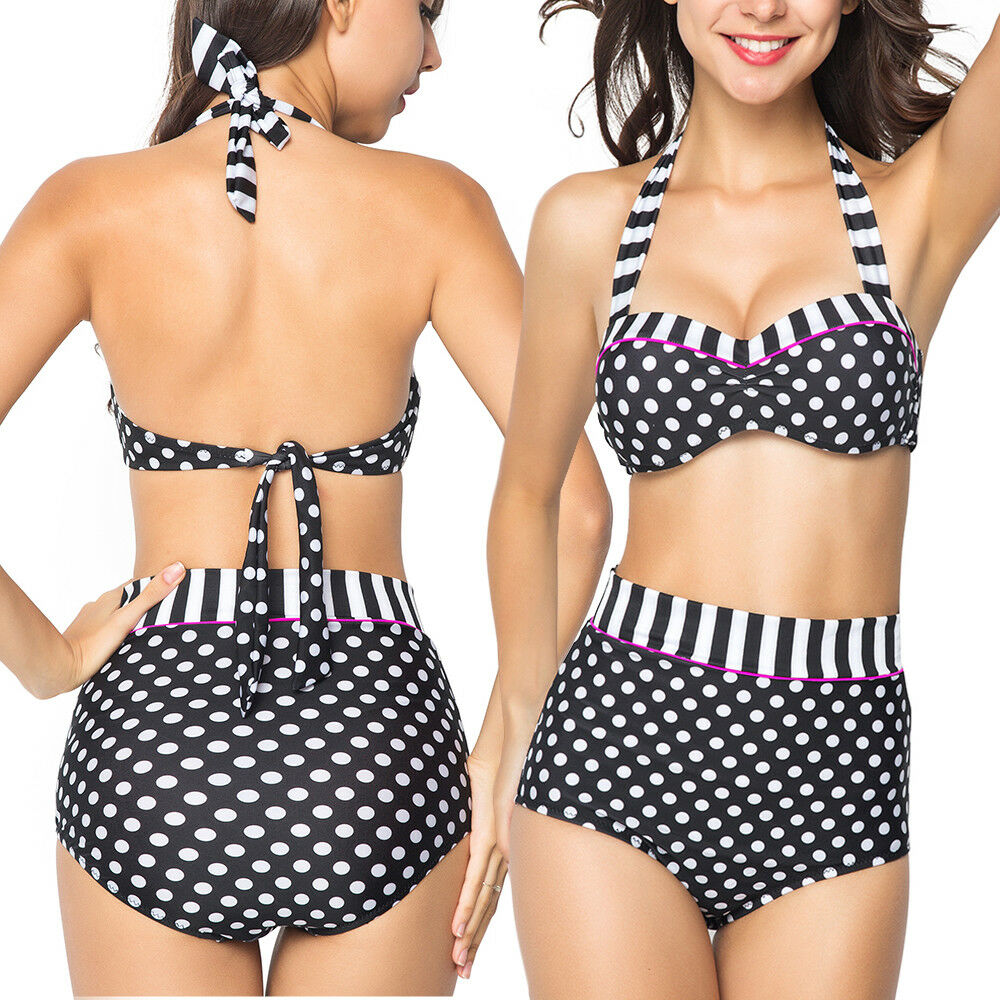 e49e90b0d706f Womens One Piece Vintage Bandage Bikini High Waisted Push-up Sexy Swim Dress