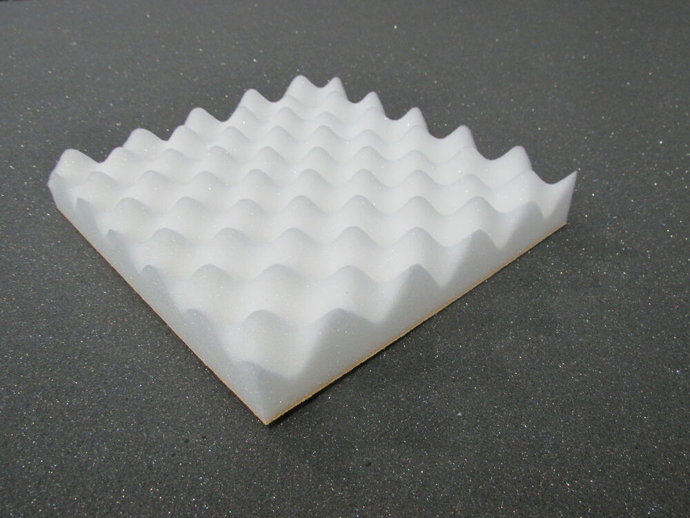 Acoustic foam treatment sound proofing 24 tiles in white for Soundproof foam