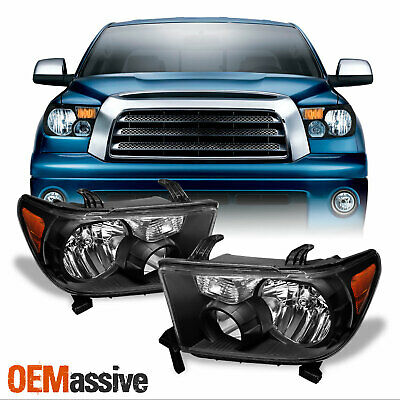 Fits 07-13 Tundra 08-17 Sequoia Black Headlights Headlamps Pair LH+RH 2007-2017