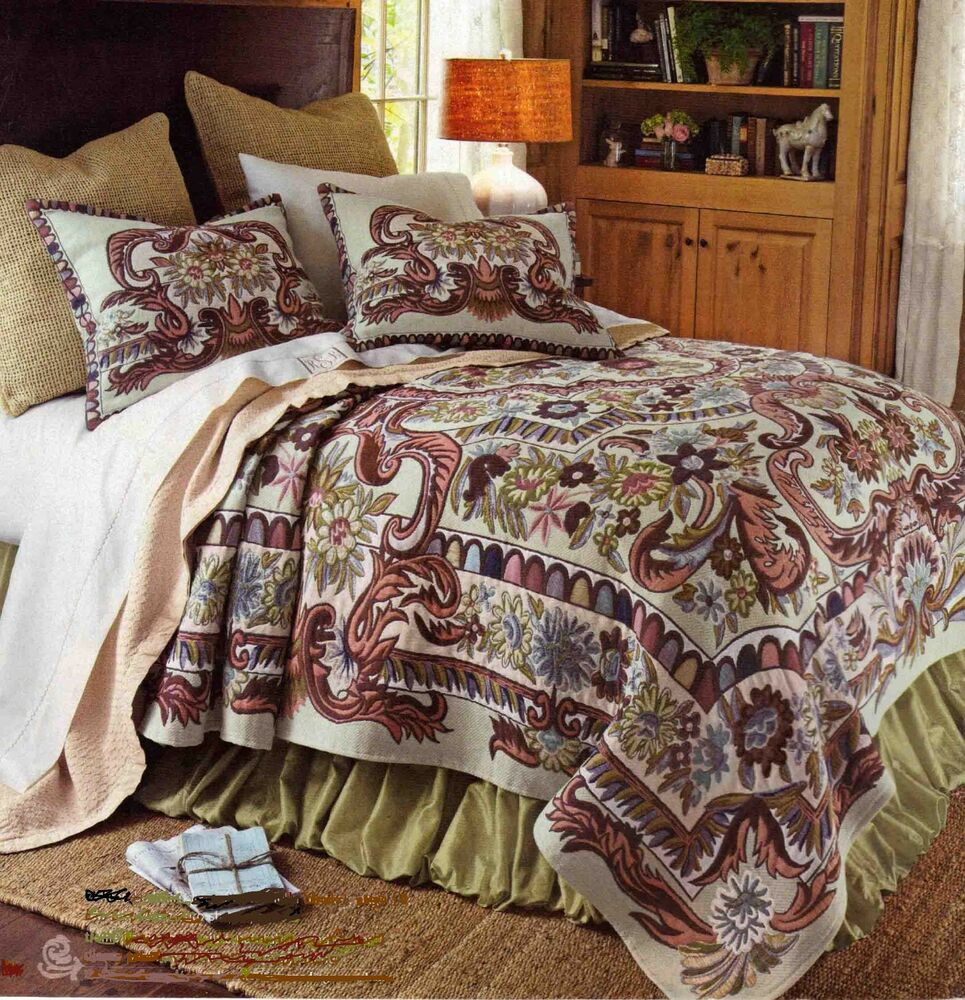 Multi color french tapestry king bed coverlet with for King shams on queen bed