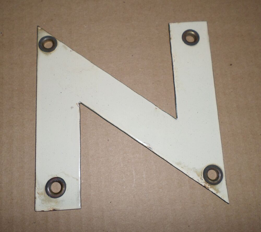 1960 39 s vintage old porcelain sign letter n home decor gas for Letter n decorations