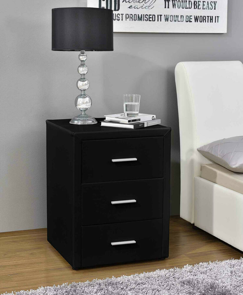 modern bedside table nightstand cabinet faux leather 3 drawe