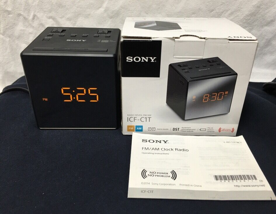 sony icf c1t alarm clock radio dual alarm black ebay. Black Bedroom Furniture Sets. Home Design Ideas