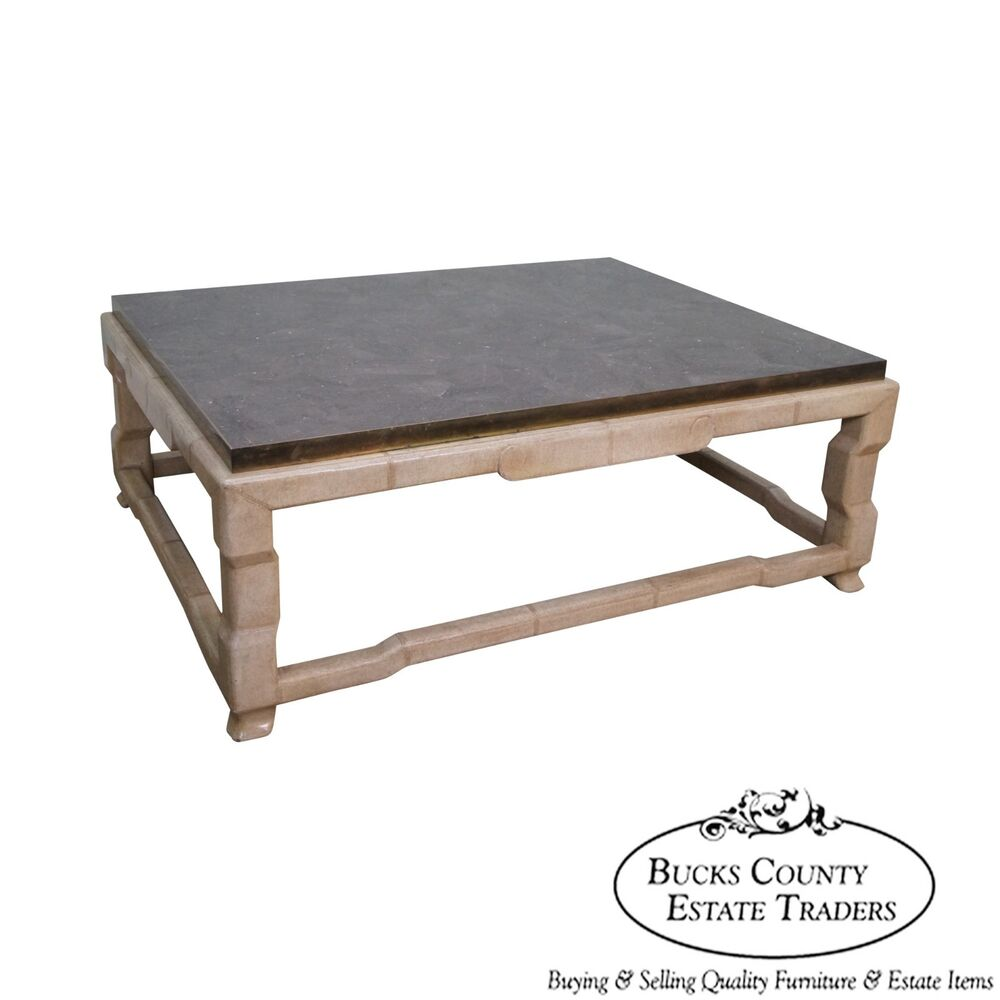 Marble Coffee Table Ebay: Marge Carson Tessellated Marble Top Leather Wrapped Coffee