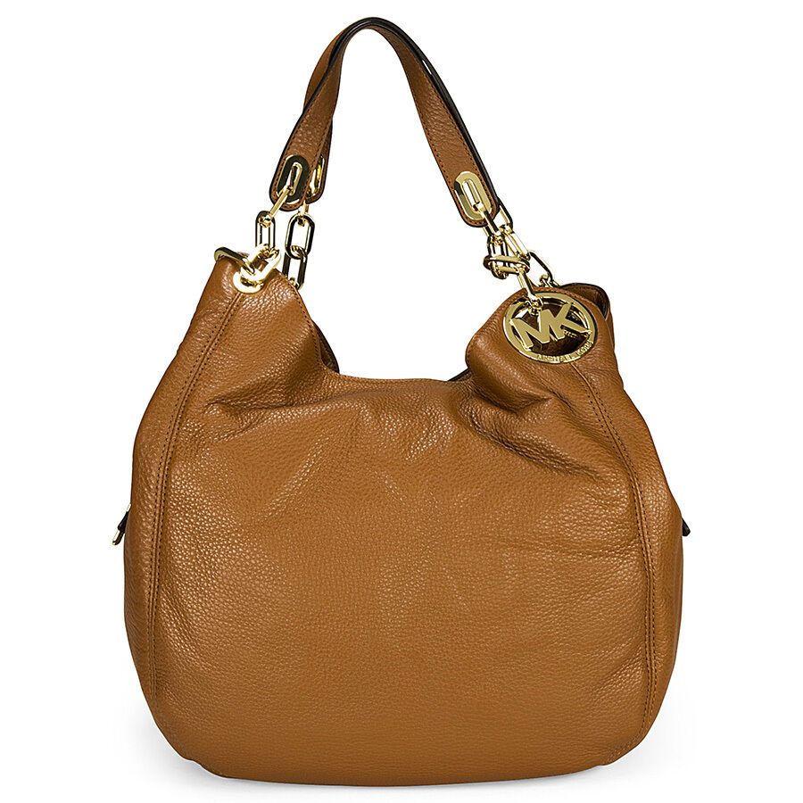 michael kors fulton tan leather large shoulder tote ebay. Black Bedroom Furniture Sets. Home Design Ideas