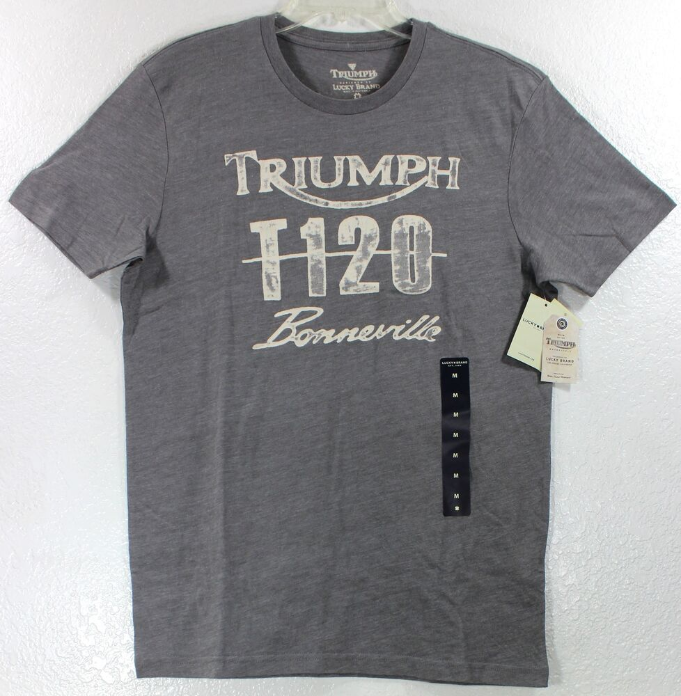 Nwt Lucky Brand Triumph Motorcycle T120 Bonneville Gray T
