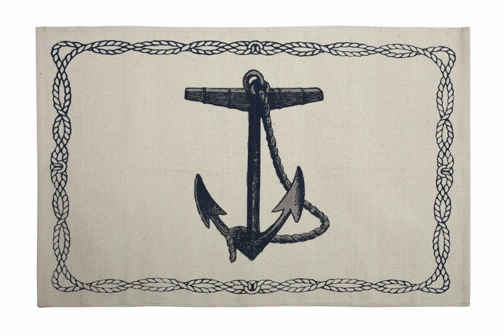 Bath mats bathroom rugs nautical decor beach decor anchor for Bathroom decor rugs