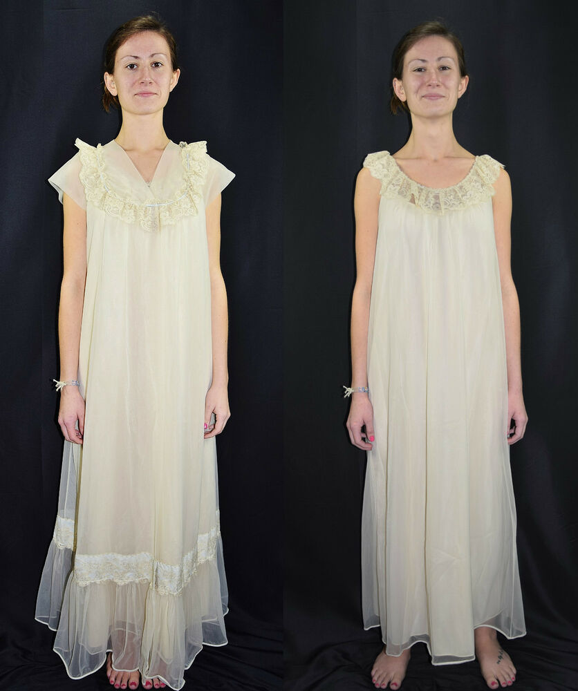 Vintage 70 S Sheer Ivory Full Length Nightgown Robe