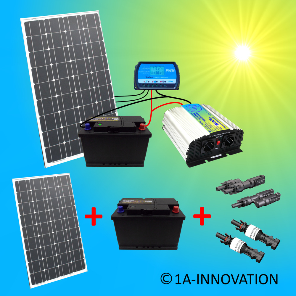 komplette 220v solaranlage t v 2x 100ah akkus 200w solarmodul 1000w steckdose ebay. Black Bedroom Furniture Sets. Home Design Ideas
