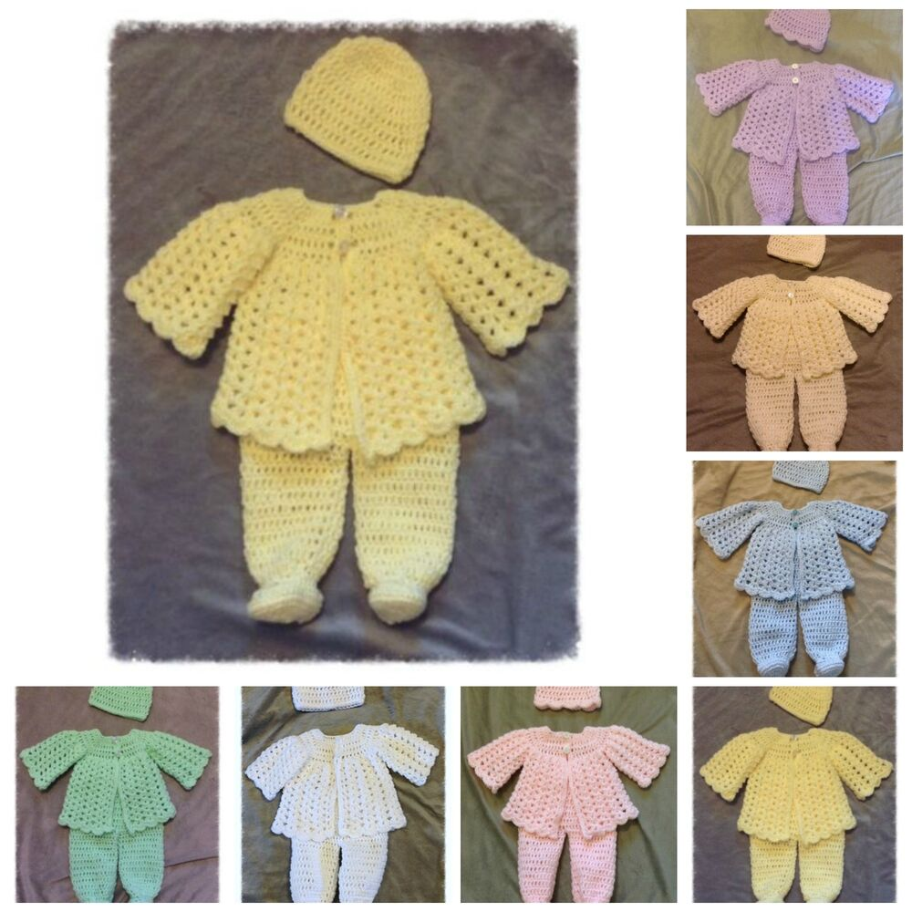 Handmade Crochet Knit Baby Girl Boy Coming Home Layette ...