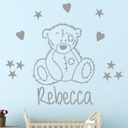 Cute Tatty Bear Style Wall Sticker With Personalised Name   Decal Adhesive Vinyl