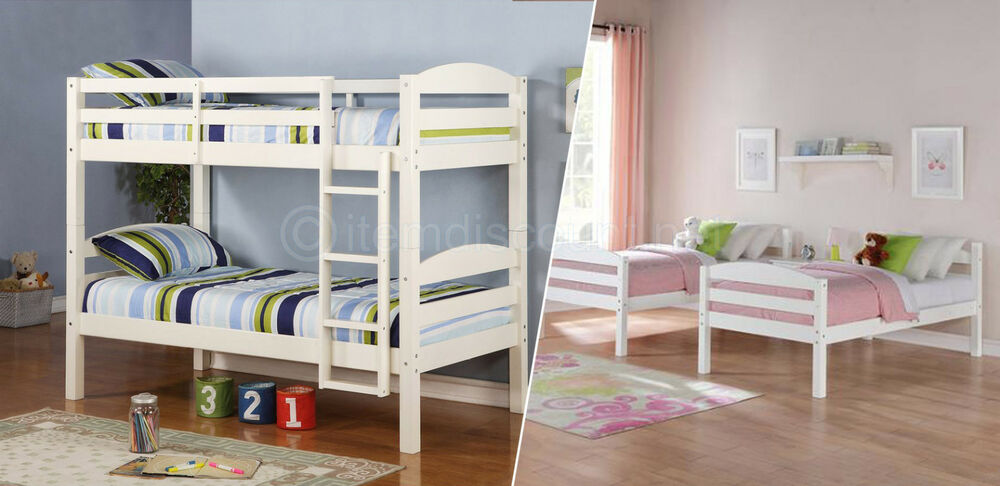 Convertible Twin Bunk Beds Ladder Kids Bedroom Furniture Dorm Childrens Wood