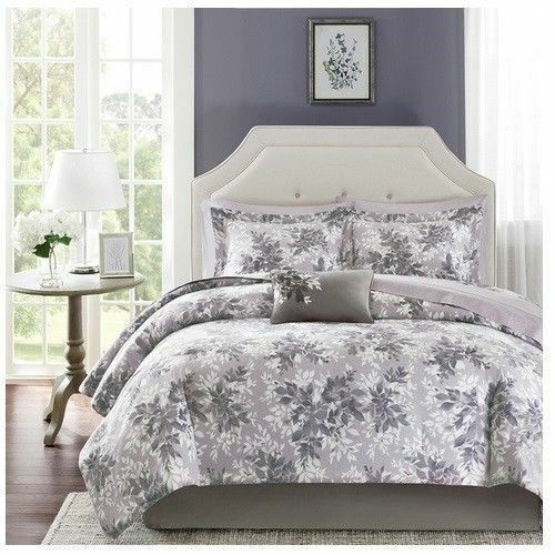 new bed bag twin full queen cal king gray floral 9pc comforter sheets pillow set ebay. Black Bedroom Furniture Sets. Home Design Ideas