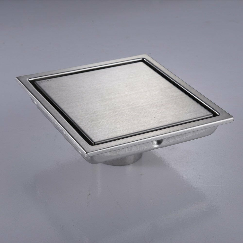 Stainless Steel 6 Inch Square Shower Floor Drain With Tile