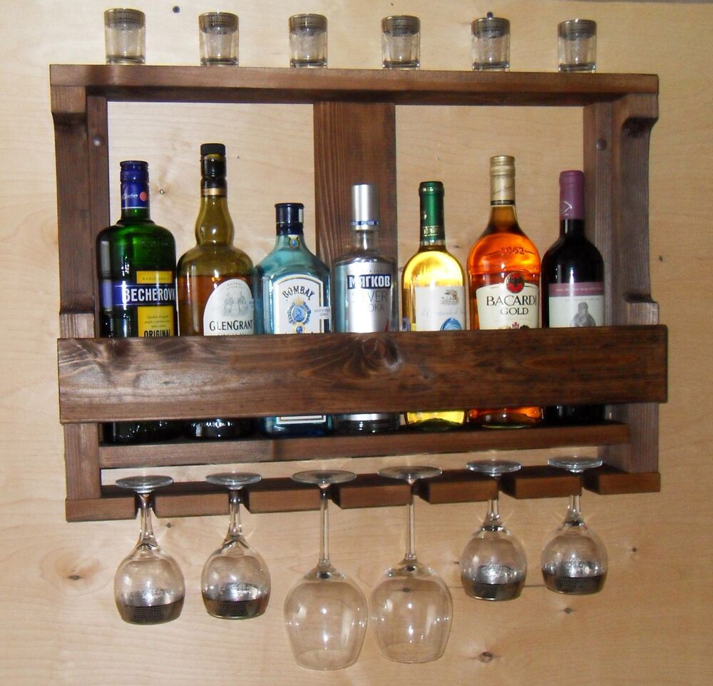 Wine Rack Rustic Handmade Wall Mounted Wood Kitchen Shelf
