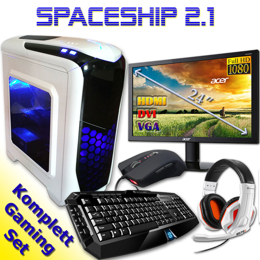 gamer pc game komplett set mit monitor computer rechner amd quad core 8gb ram ebay. Black Bedroom Furniture Sets. Home Design Ideas