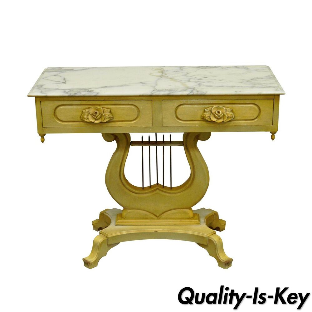 Marble Top Lyre Coffee Table: Vintage Victorian Painted Marble Top Lyre Harp Base