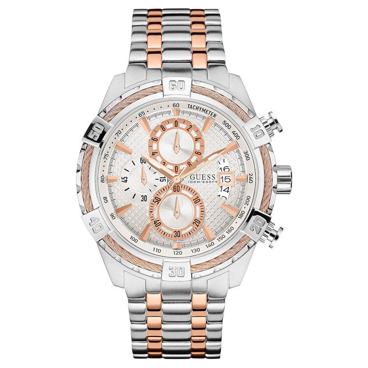 NEW GUESS WATCH for Men * Chronograph * Two Tone Rose Gold ...