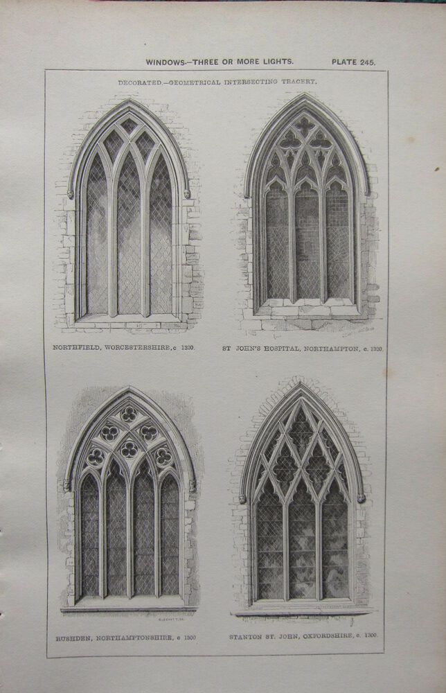 1850 ANTIQUE GOTHIC ARCHITECTURE PRINT WINDOWS GEOMETRICAL INTERSECTING TRACERY
