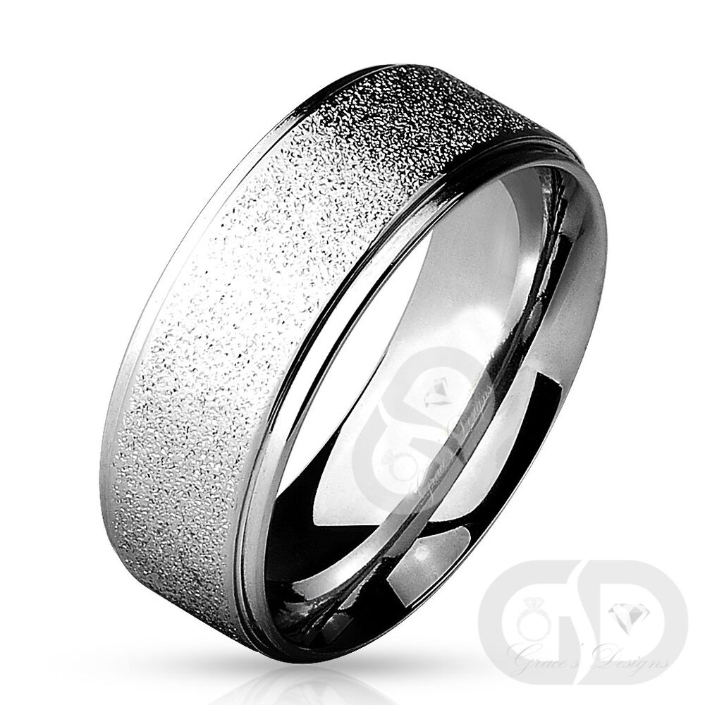 Wedding Band Stainless Steel 8mm: Mens 8mm Classic Traditional Wedding Band Sand Blast