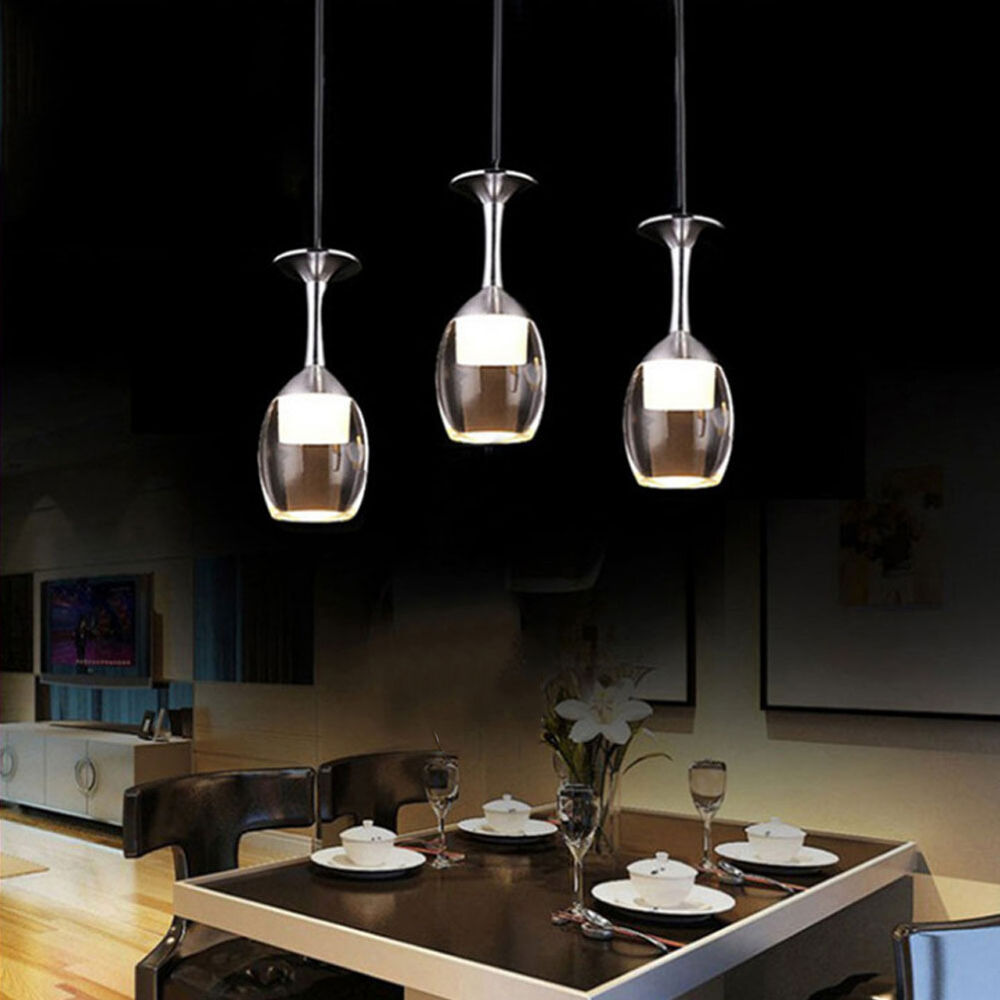 Chandelier Lighting Glass: Modern Acrylic 3 Wine Glass Shade Pendant Light 9W LED