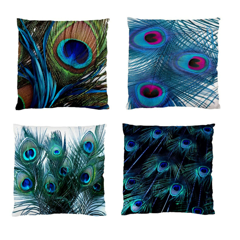 New peacock feathers home decor scatter cushion case image for Home decorations peacock