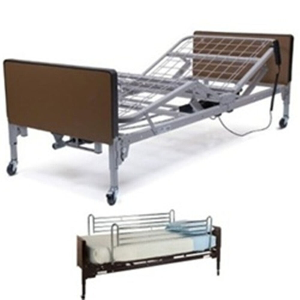 Electric Beds Medical : Full electric high or low hospital bed rails mattress