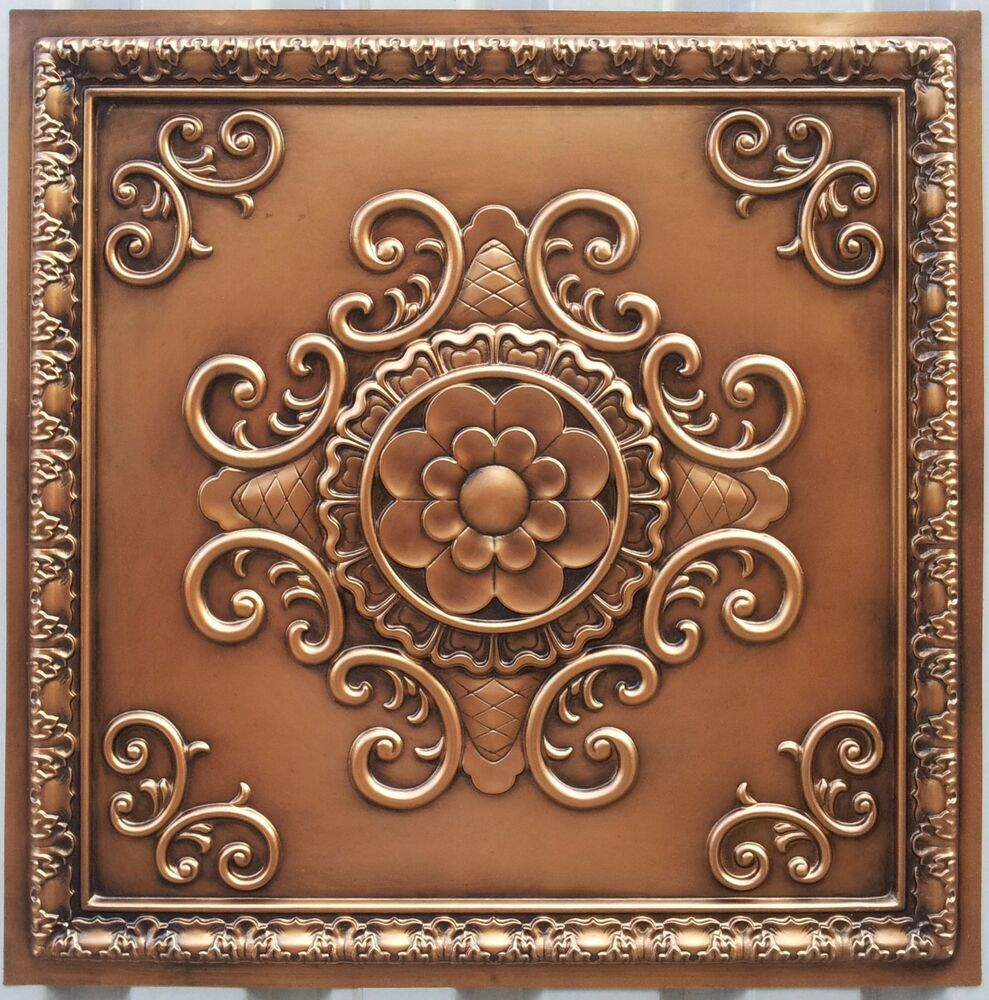 Pl08 Faux Paint Tin 3d Antique Copper Ceiling Tiles Decor
