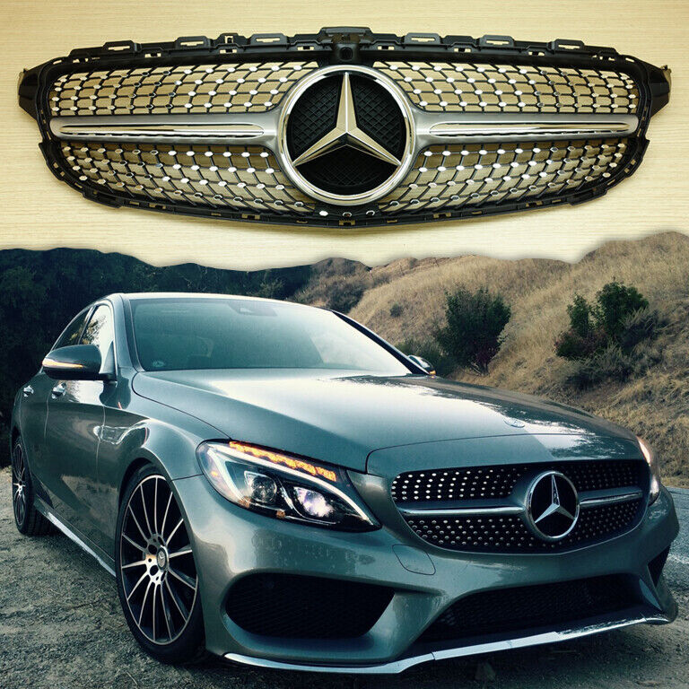Silver diamond design front grille for 2015 m benz c class w205 c450amg look ebay - Grille indiciaire 2015 categorie c ...