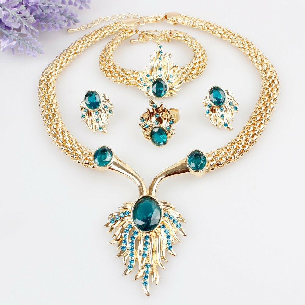 Gold Plated Crystal Necklace Bracelet Earrings Ring Set ...