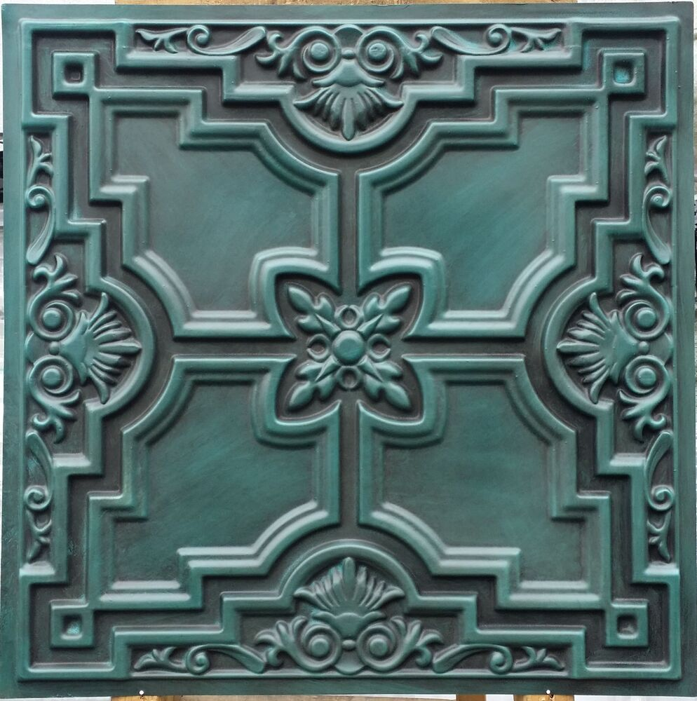 Embassy And Wall Design Ceiling Tiles : Pl faux finish tin d antique cyan ceiling tiles decor