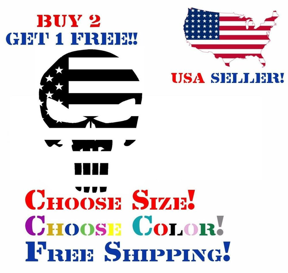 Details about punisher american usa sniper color flag skull die cut vinyl decal sticker jdm