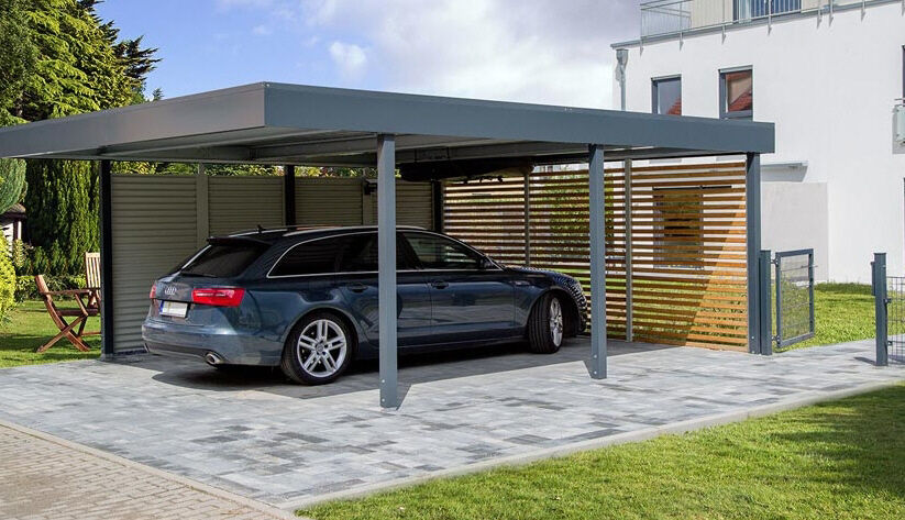 carport aus metall breite 341 x tiefe 710 cm mit wandelemente ebay. Black Bedroom Furniture Sets. Home Design Ideas