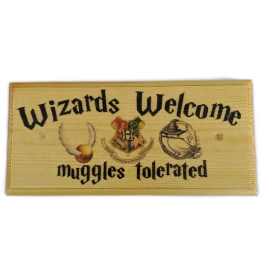Wizards Welcome Plaque Sign Gift Harry Potter