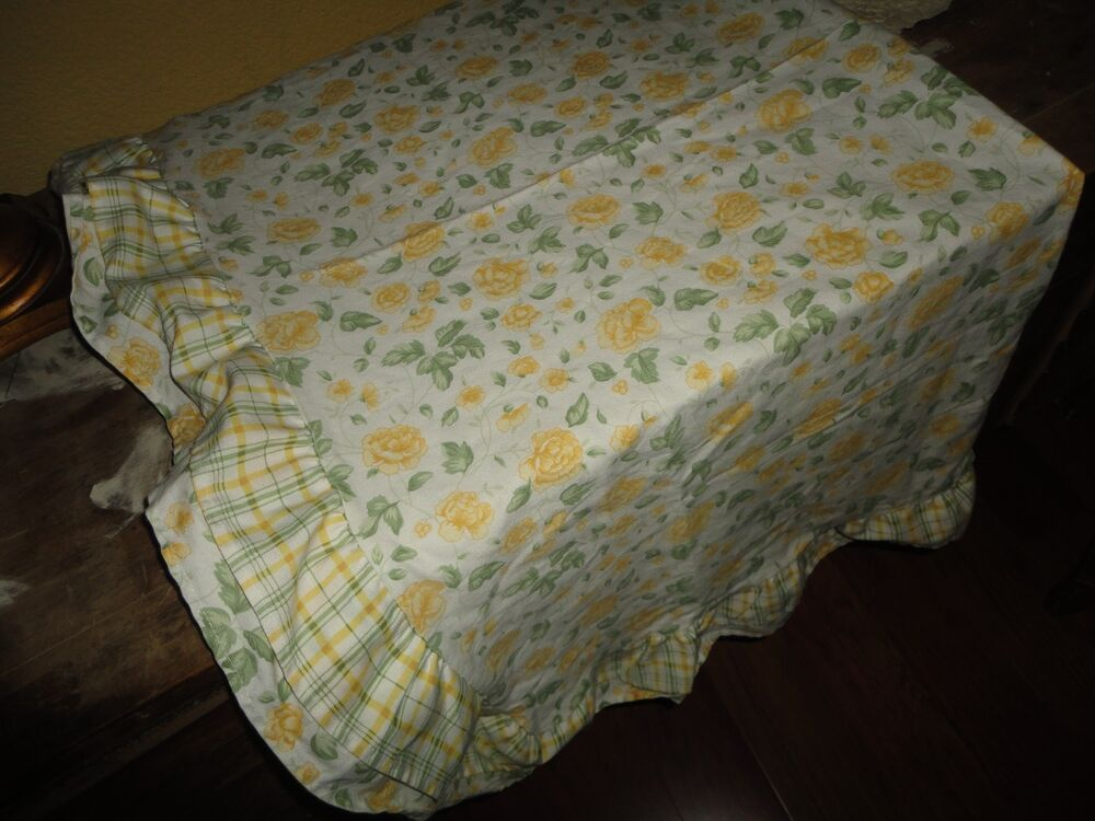 Waverly Yellow Amp Green Floral Plaid Square Table Topper