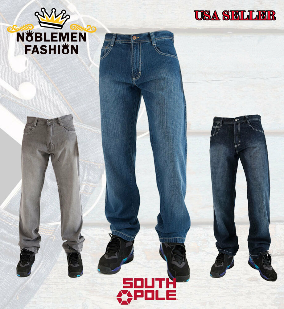 southpole men 39 s 4180 relaxed fit basic denim jeans size 32 42 ebay. Black Bedroom Furniture Sets. Home Design Ideas