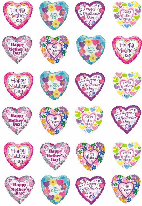 24 happy mothers day hearts mum cupcake cake toppers edible rice wafer paper ebay. Black Bedroom Furniture Sets. Home Design Ideas