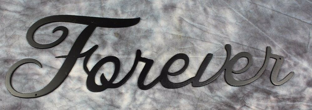 "Metal Sculptures And Art Wall Decor: Metal Wall Art Words...""Forever"" Black Satin"