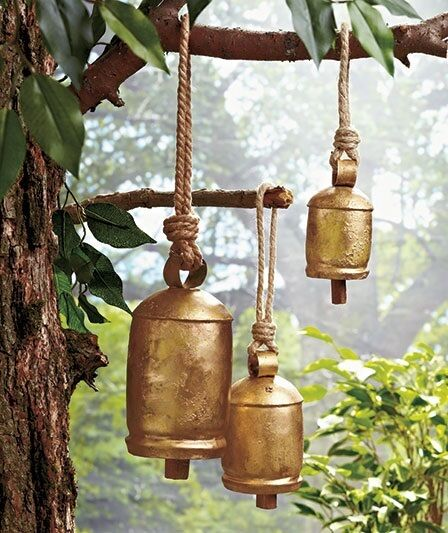 Hanging harmony bells 3 outdoor home garden yard ornament for Outdoor hanging ornaments