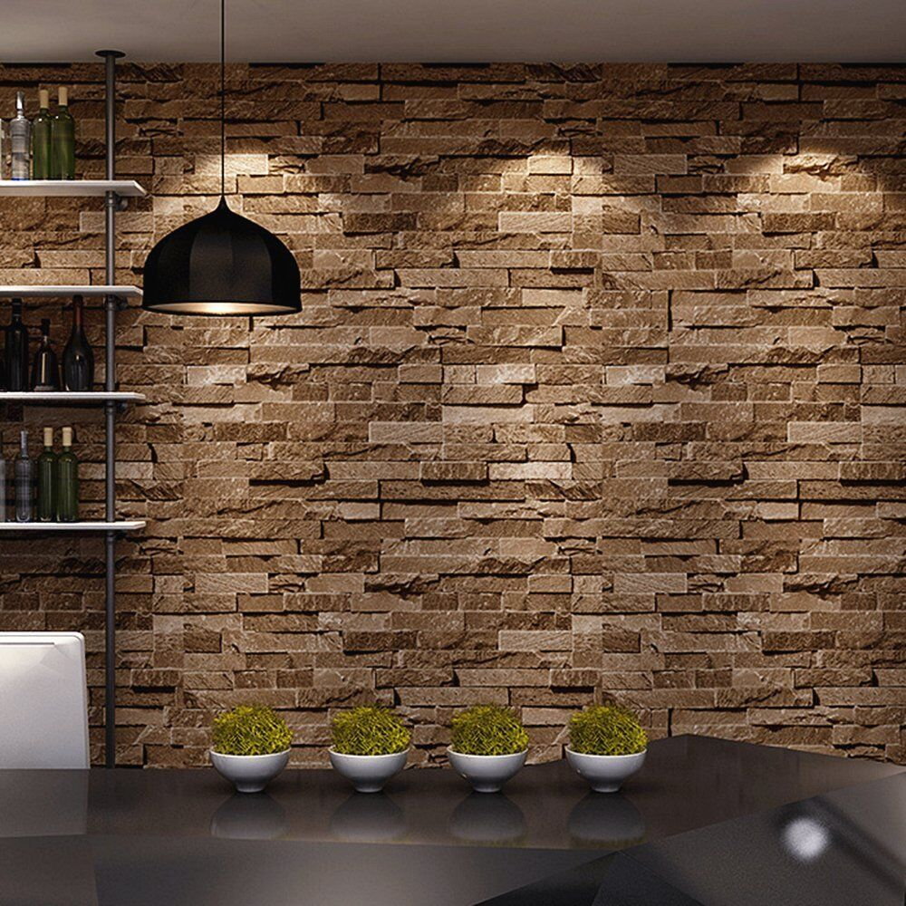 Brick stone 3d wallpaper nature visual effect cleanable for Home wallpaper ebay