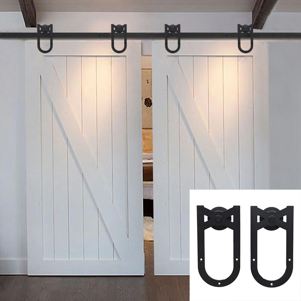 6 16 ft sliding barn double door hardware track kit garage for Dual track barn door hardware