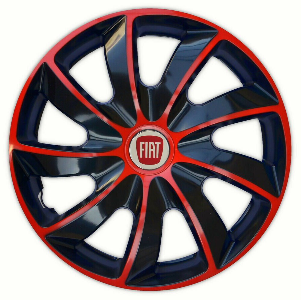 4 x14 wheel trims wheel covers for fiat 500 fiat punto black red ebay. Black Bedroom Furniture Sets. Home Design Ideas