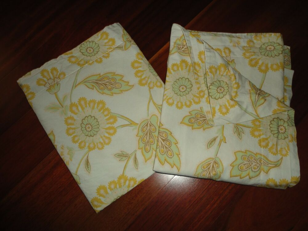 POTTERY BARN GOLDENROD MOSS GREEN FLORAL ORGANIC COTTON