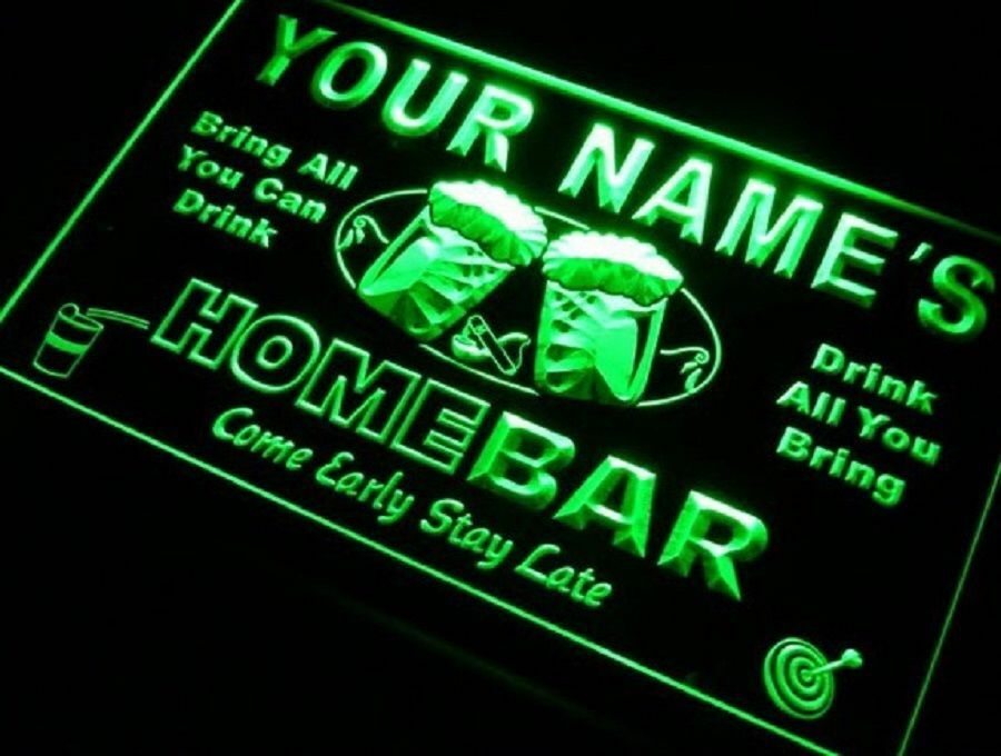 Sign design 12 x 8 5 signs home bar your own light sign custom neon led ebay - Custom signs for home decor concept ...