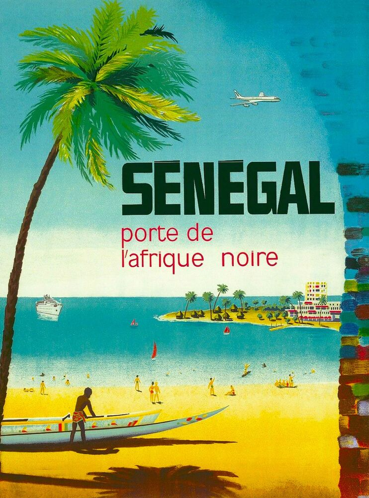 senegal porte de afrique africa vintage african travel advertisement poster ebay. Black Bedroom Furniture Sets. Home Design Ideas