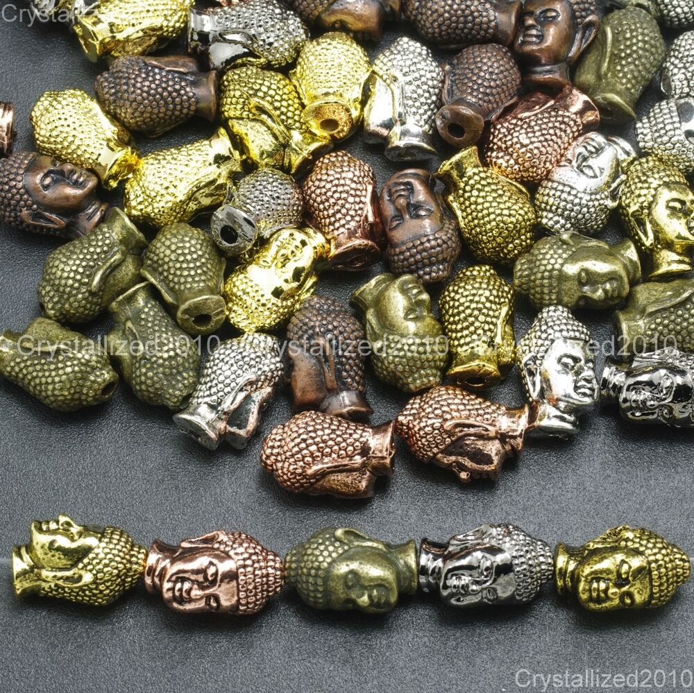 Metal Charm Bracelets: Solid Metal Buddha Head Bracelet Connector Charm Beads