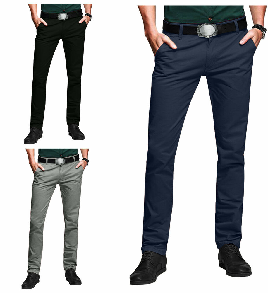 New Mens Chino Trouser Cotton Slim Fit jeans Khakis ...