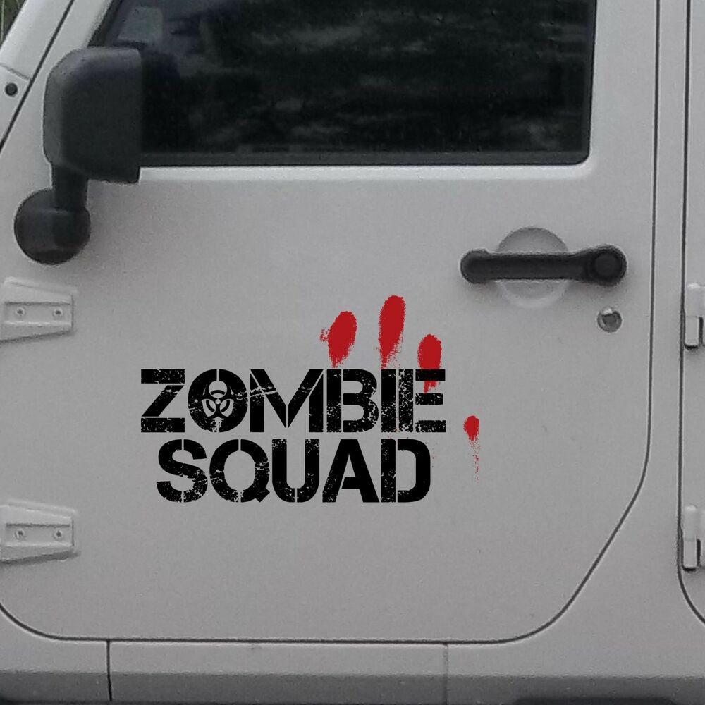 2x Zombie Squad Outbreak Response Jeep Blood Door Decal